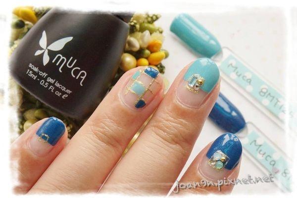 《DIY凝膠指彩》簡易格子拼貼-Muca沐卡
