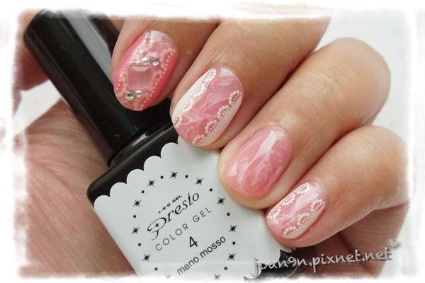 《DIY凝膠指彩》粉紅蕾絲大理石-Presto