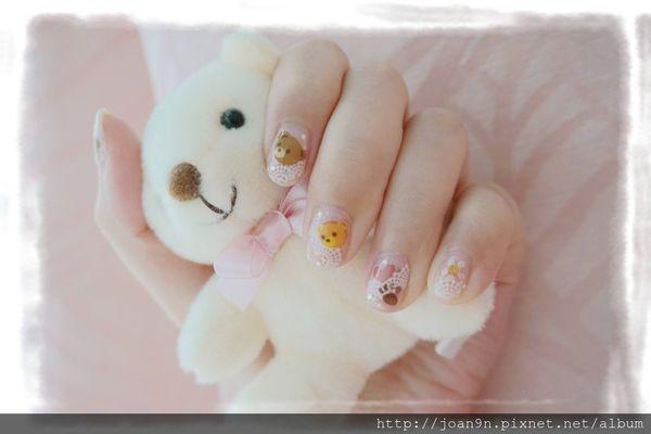 《光療》清透蕾絲風格+熊熊貼紙