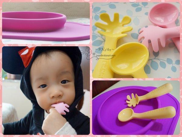 《體驗》給1歲寶寶練習吃飯的好幫手-Farandole兒童學習餐具組X防滑餐盤