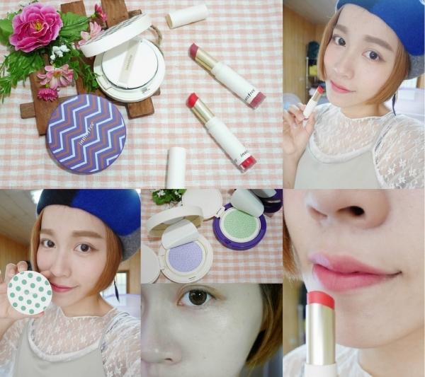 無害感空氣妝:Innisfree超持妝玩色舒芙蕾粉餅、超服貼絲絨唇膏(乾燥玫瑰),自然透亮又清爽