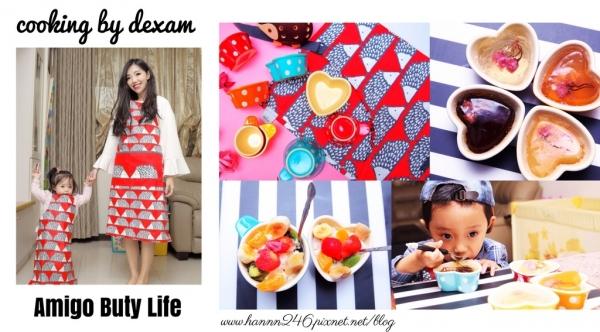 【親子烘焙】英國dexam波爾卡心形烤盅x刺蝟親子圍裙.季節限定櫻花甜點&豆漿水果冰沙(圖文+影音)❤