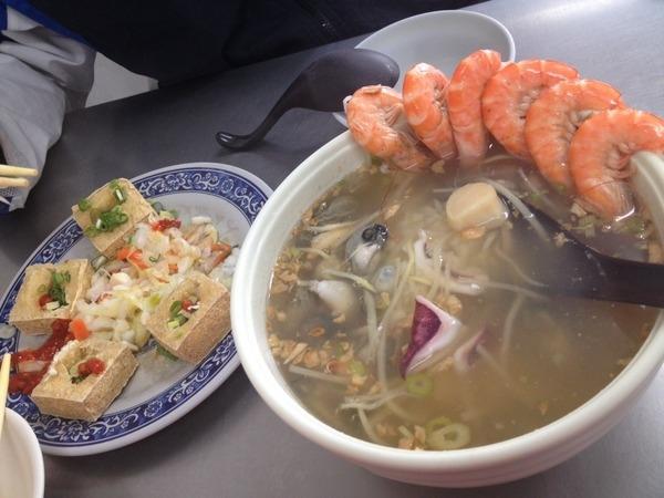 <小吃>香味海產粥 脆皮臭豆腐-滿滿海鮮飯湯、扎實口感臭豆腐