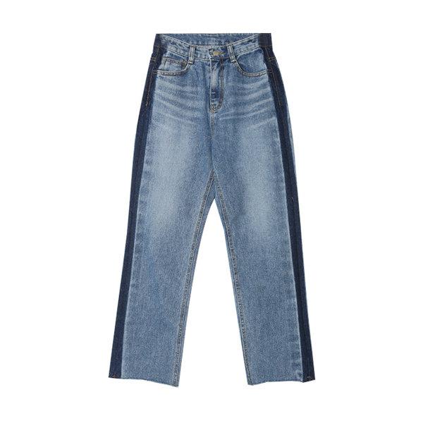 STYLENANDA配色拼接不修邊高腰修身牛仔褲1455.jpg