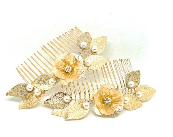 珍珠壓紋葉髮叉-金$1680.JPG