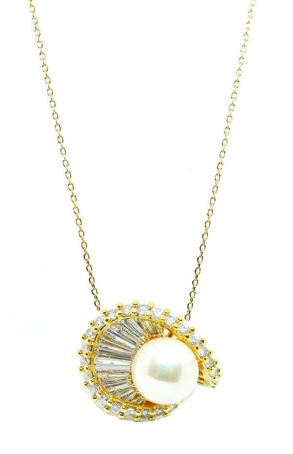 立體荷葉花項鍊-白珍珠鍍金$6980.jpg