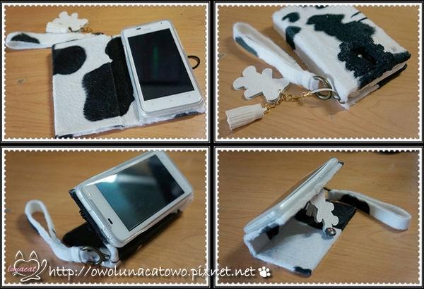 【小物DIY】 HTC J 的乳牛外套~側翻式手機皮套DIY