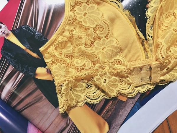 無鋼圈蕾絲內衣 黃色