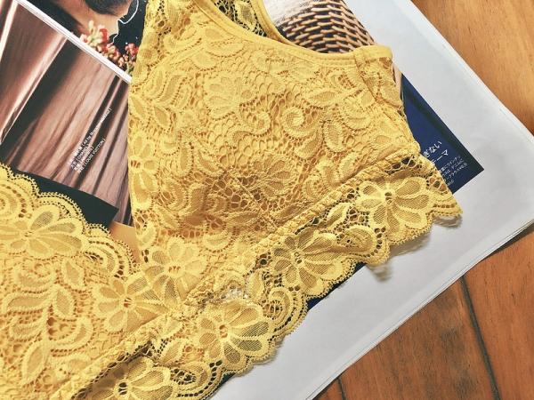 Bralette無鋼圈蕾絲內衣 黃色
