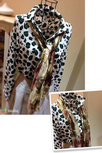 [日本雜貨]♔豹紋雪紡襯衫 & 絲質圍巾♔