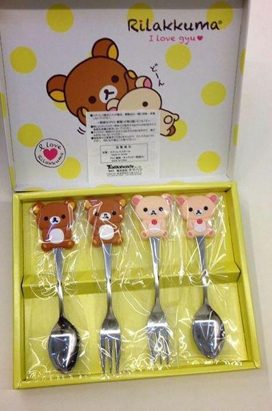 [日本雜貨] 拉拉熊&牛奶妹 湯匙叉子禮盒組  Rilakkuma spoon and fork gift set