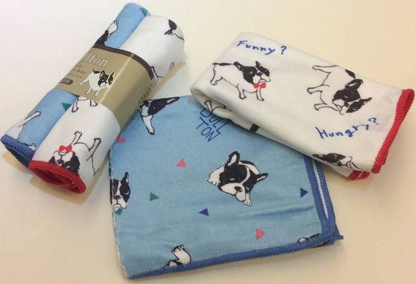 [日本雜貨] 大家晚ㄤ~紳士淑女必備的 可愛法鬥犬 小毛巾