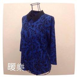 [日本雜貨] # 藍色花紋 上衣 #   # 米色水手服領連身外衣 #