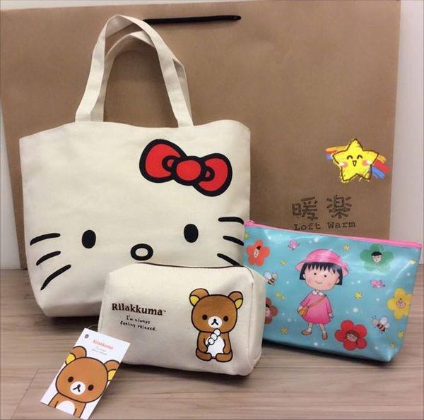 [日系包款] 超級特價商品又有新貨囉!!Hello Kitty手提袋 櫻桃小丸子/ 拉拉熊收納包