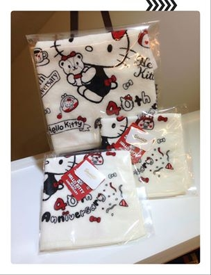 [日本雜貨] Hello Kitty 40週年版毛巾與手帕 !!!