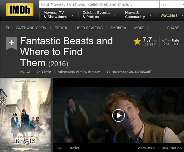 [小熊先生電影週記] Fantastic Beasts n Where to Find Them / 台譯:怪獸與牠們的產地