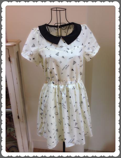 [日本雜貨] 可愛甜心 - 娃娃領絲質洋裝