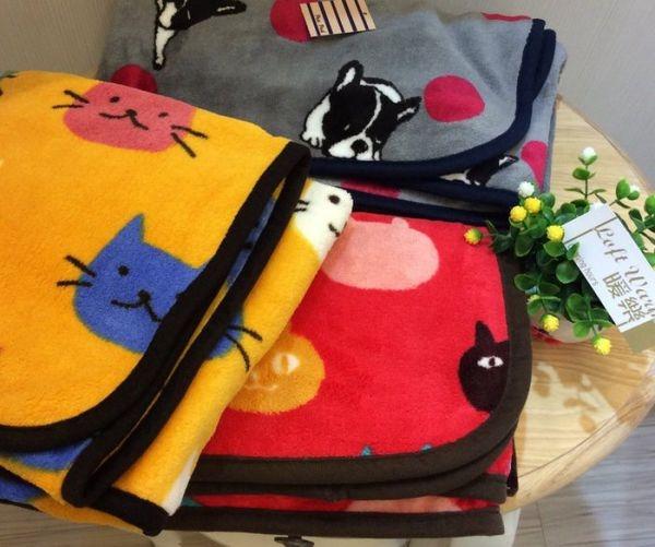 [日本雜貨] 柔軟保暖毛毯 法國鬥牛犬點點款 紅色貓咪款 黃色貓咪款