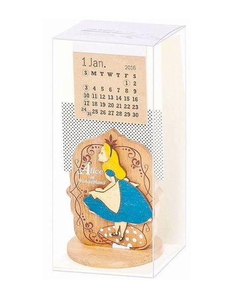 [日本雜貨] 2016 迪士尼 米妮 愛麗絲 史努比 木質桌曆