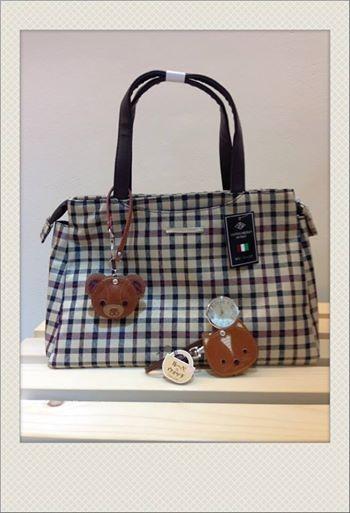 [日系包款] # 英倫風格紋手提包 #  # 小熊 小狐狸 鍊錶 #