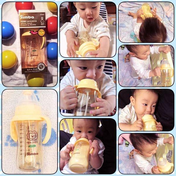 [Baby嬰幼兒]帥氣侄子出道囉~小獅王辛巴PPSU自動把手寬口雙凹中奶瓶>>練習水杯/外出奶瓶