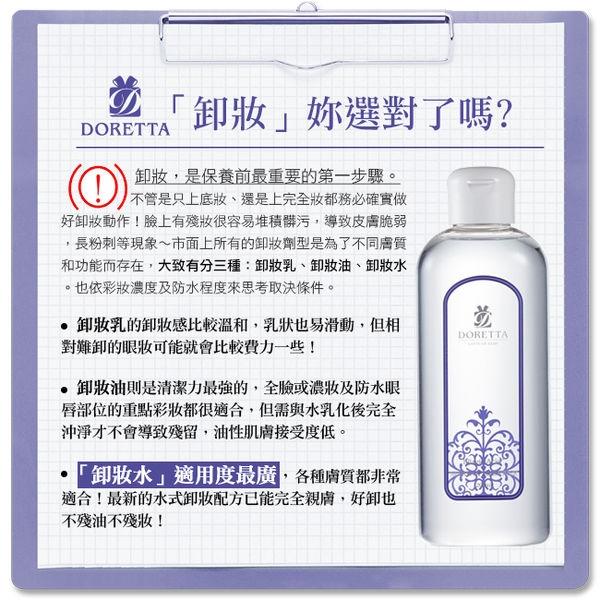 卸妝新革命,深層清潔×徹底卸妝×高效保濕 【DORETTA】鞣花酸潤白即淨卸妝水