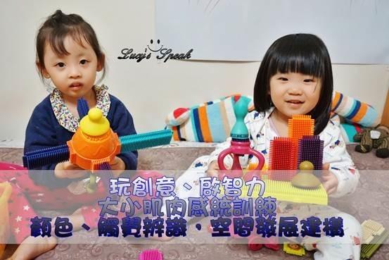 (幼兒玩具推薦)積木推薦/空間感建構、刺激觸覺、幫助手眼協調的感統玩具,美國B.Toys布萊斯特鬃毛積木開箱
