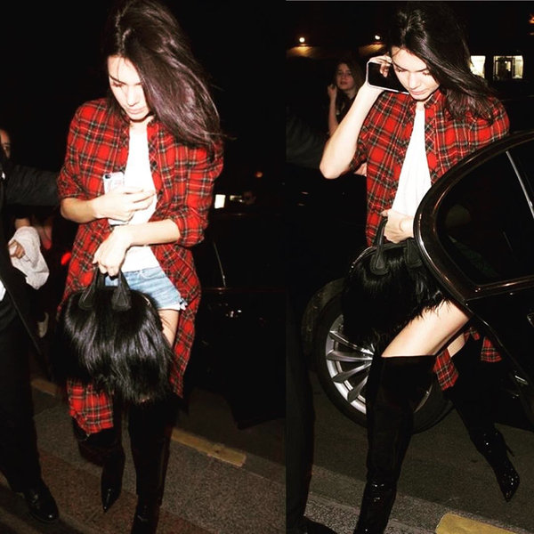 Kendall Jenner身穿Rosetta Getty 2016秋冬長板格紋襯衫_NT$48,500.jpg