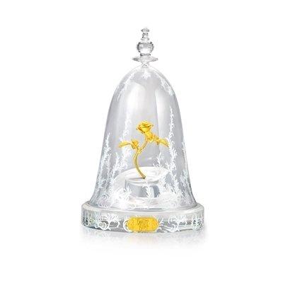周大福迪士尼「美女與野獸」系列玫瑰花純金擺件 搭配玻璃花罩2.jpg