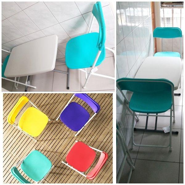 """妮妮///不管室內戶外都實用的30""""塑膠折疊邊桌&icandy耐衝擊折疊椅"""