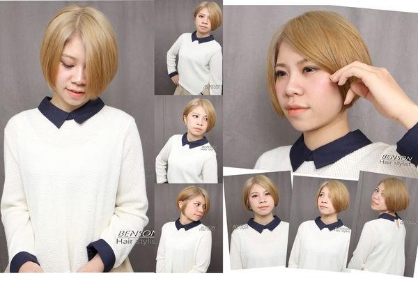 2014流行髮型~經典的短髮造型利用髮色強佔優勢的完美輪廓~西門町尚洋髮型BENSON