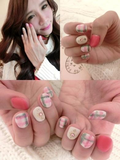 【美甲】秋冬溫暖好女孩感的霧面格紋款凝膠指甲