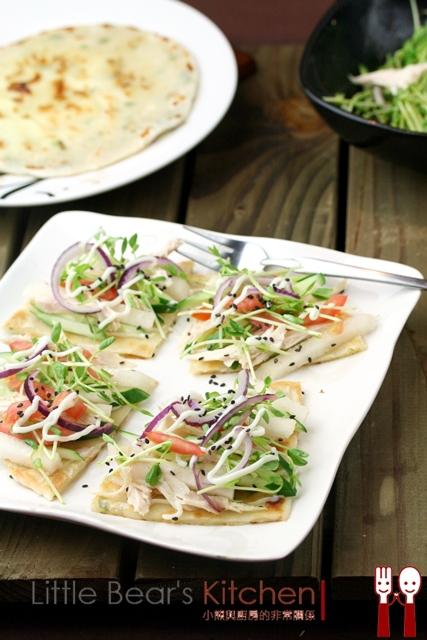 【食譜】雞絲蔬菜免烤披薩餅—免料理的低卡餐