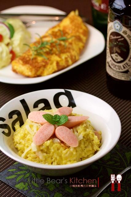 【食譜】卜滋卜滋的桂冠明太子魚香腸—-魚香腸南瓜乳酪燉飯,起士歐姆蛋