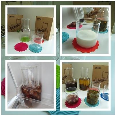 創意品味生活-HOLA亦杯亦蓋 耐熱輕量玻璃1壺3杯附杯墊