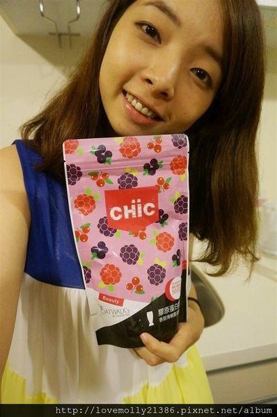 (邀稿)讓肌膚保持在18歲的彈力光澤吧♡::CHiC膠原蛋白奶昔(覆盆莓口味)::