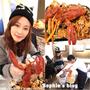 「食記」台中美食。二訪妃黛美式海鮮餐廳❤吃龍蝦大餐看食尚玩家+地芋風暴爆笑噴煙甜點