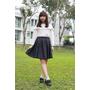 春日穿搭 日系女孩必備 針織外套X格紋 用earth music來當個偽日本女孩吧