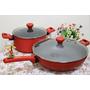 廚具▶義大利MONETA.不沾鍋天然紅石系列雙鍋組(炒鍋32cm+湯鍋24cm) (附影片)