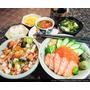 新竹餐廳推薦 九川日本料理 鮭魚親子丼飯 極品散壽司 升級套餐!鮮蝦手卷 甜點 味噌湯三選二!
