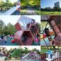 頭城鎮運動公園▋宜蘭免費親子共融遊樂場(宜蘭親子遊景點)蜂巢造型遊戲組、土堤滑梯、攀爬網、沙坑、滑車、旋轉盤